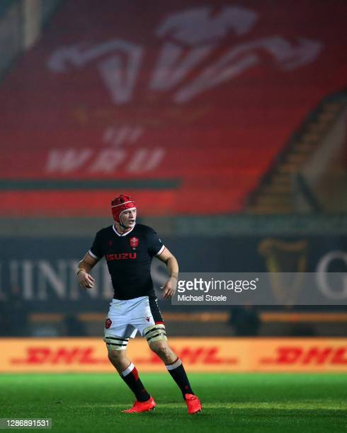 James Botham of Wales in action during the Autumn Nations Cup 2020 match between Wales and Georgia at Parc y Scarlets on November 21, 2020 in...