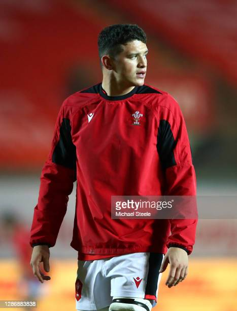 James Botham of Wales looks on prior to the Autumn Nations Cup 2020 match between Wales and Georgia at Parc y Scarlets on November 21, 2020 in...
