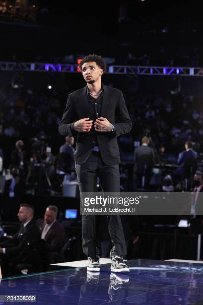 James Bouknight is selected by the Charlotte Hornets during the 2021 NBA Draft on July 29, 2021 at the Barclays Center, New York. NOTE TO USER: User...