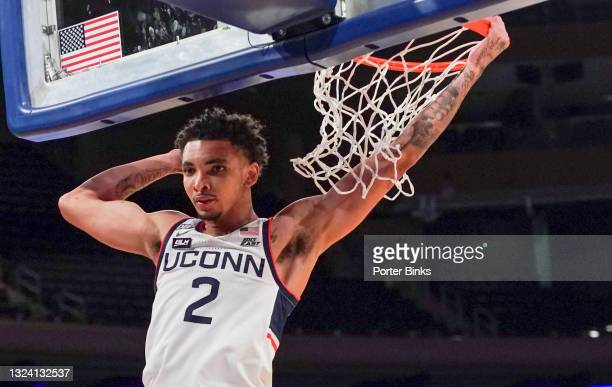 James Bouknight of the Connecticut Huskies after a dunk against the DePaul Blue Demons during a Big East Tournament quarterfinal game at Madison...