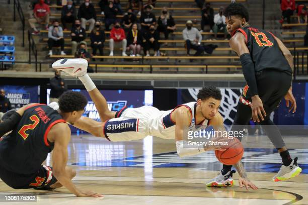 James Bouknight of the Connecticut Huskies dives for a loose ball during the second half against the Maryland Terrapins in the first round game of...