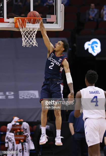 James Bouknight of the Connecticut Huskies in action against the Seton Hall Pirates during an NCAA college basketball game at Prudential Center on...
