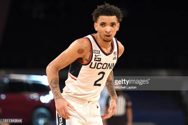 James Bouknight of the Connecticut Huskies looks on during the Big East Men's Basketball Tournament - Quarterfinals college basketball game against...
