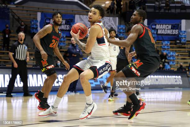James Bouknight of the Connecticut Huskies looks to shoot against Darryl Morsell of the Maryland Terrapins during the second half in the first round...