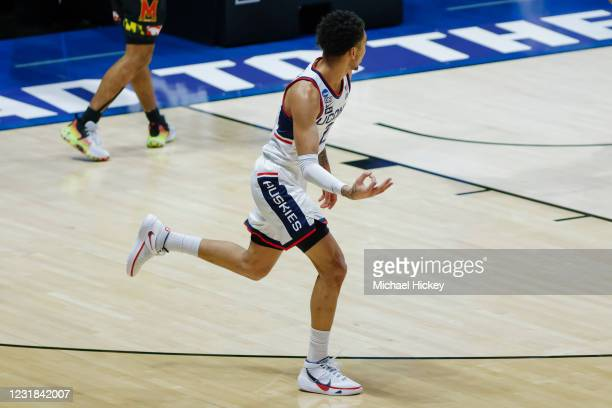 James Bouknight of the Connecticut Huskies reacts after a three pointer during the first half against the Maryland Terrapins in the first round of...