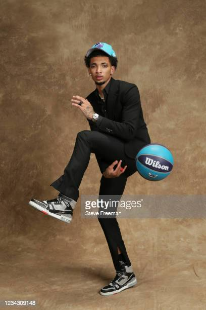 James Bouknight poses for a portrait after being drafted by the Charlotte Hornets during the 2021 NBA Draft on July 29, 2021 at Barclays Center in...