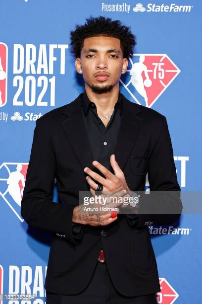 James Bouknight poses for photos on the red carpet during the 2021 NBA Draft at the Barclays Center on July 29, 2021 in New York City.