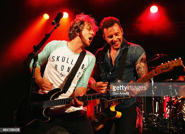 James Bourne and Danny Jones ofMcBusted perform live on stage at Metro Theatre on February 22 2015 in Sydney Australia