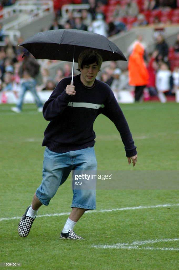 James Bourne of Son Of Dork during Celebrity World Cup Soccer Six Match at West Ham United Football Club in London, Great Britain.