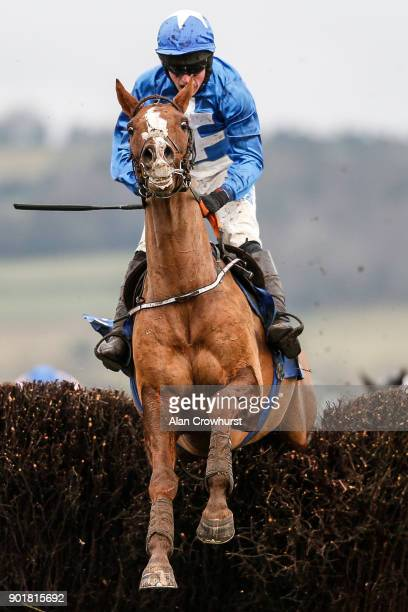 James Bowen riding Raz De Maree clear the last to win The Coral Welsh Grand National Handicap Steeple Chase at Chepstow racecourse on January 6 2018...