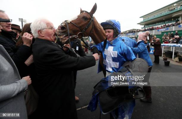 James Bowen with Raz De Maree after their victory in the Coral Welsh Grand National Handicap Chase during Coral Welsh Grand National Day at Chepstow...