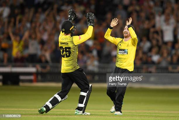 James Bracey and Tom Smith of Gloucestershire celebrates after taking the wicket of Tom Abell of Somerset during the Vitality Blast match between...
