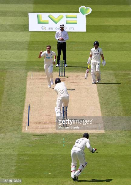 James Bracey of England is bowled by Tim Southee of New Zealand during Day 4 of the First LV= Insurance Test Match between England and New Zealand at...