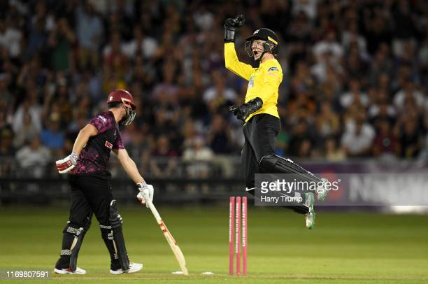 James Bracey of Gloucestershire celebrates after stumping James Hildreth of Somerset during the Vitality Blast match between Gloucestershire and...