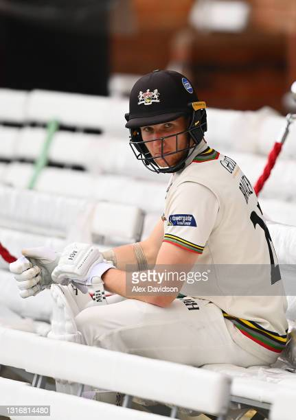 James Bracey of Gloucestershire waits to go out to bat after tea on Day Two of the LV= Insurance County Championship match between Middlesex and...