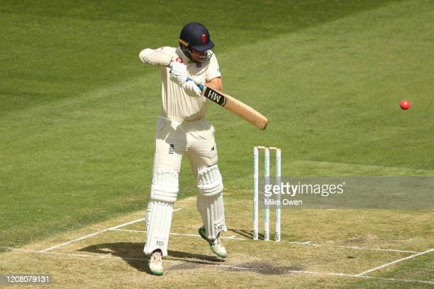 James Bracey of the England Lions bats during the Four Day match between Australia A and the England Lions at Melbourne Cricket Ground on February 23...