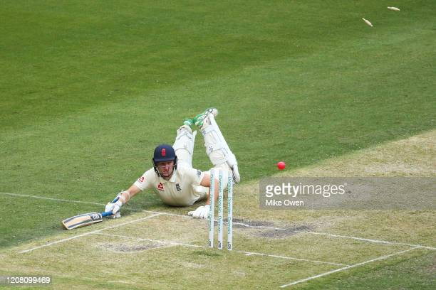 James Bracey of the England Lions dives to the crease after an unsuccessful runout attempt during the Four Day match between Australia A and the...