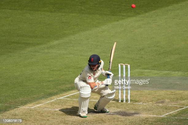 James Bracey of the England Lions ducks under a bouncer during the Four Day match between Australia A and the England Lions at Melbourne Cricket...