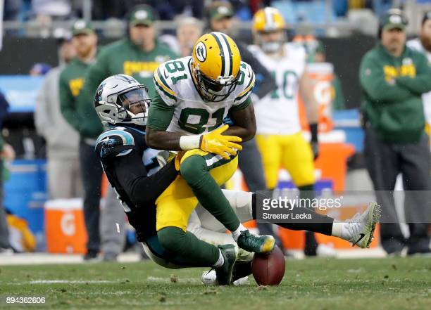 James Bradberry of the Carolina Panthers forces a fumble against Geronimo Allison of the Green Bay Packers in the fourth quarter during their game at...