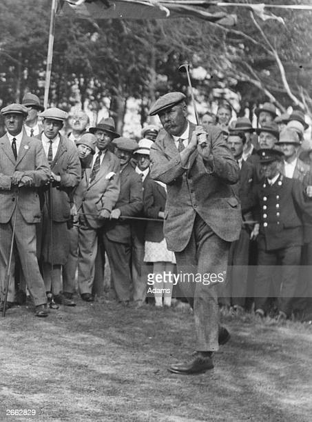James Braid drives off in an exhibition match with John H Taylor Bailey and Crock after the Mayor of Belfairs opened a new 18hole golf course...