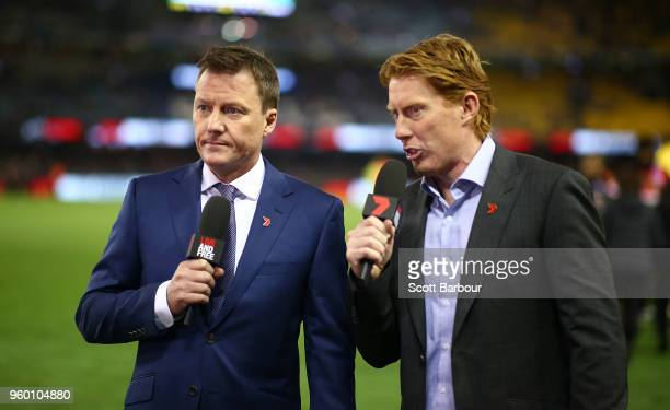James Brayshaw and Cameron Ling commentate for Channel 7 during the round nine AFL match between the St Kilda Saints and the Collingwood Magpies at...