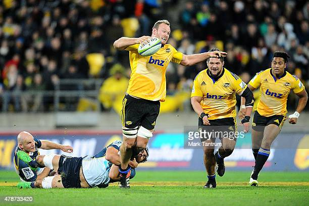 James Broadhurst is tackled during the Super Rugby Semi Final match between the Hurricanes and the Brumbies at Westpac Stadium on June 27 2015 in...