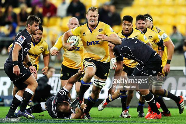 James Broadhurst of the Hurricanes attempts to break the Sharks defence during the round 13 Super Rugby match between the Hurricanes and the Sharks...