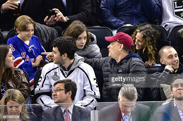 James Broderick Truman Hanks Tom Hanks Sarah Jessica Parker and Chet Hanks attend the Los Angeles Kings vs New York Rangers game at Madison Square...