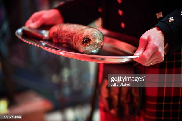 James Brodie holds the haggis during the Burns Beyond traditional Burns Supper in the Freemasons Hall on January 24 2020 in Edinburgh Scotland The...
