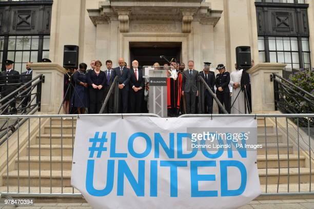 James Brokenshire Sajid Javid Jeremy Corbyn Sadiq Khan and Cressida Dick outside Islington Town Hall in London observing a minute's silence to mark...