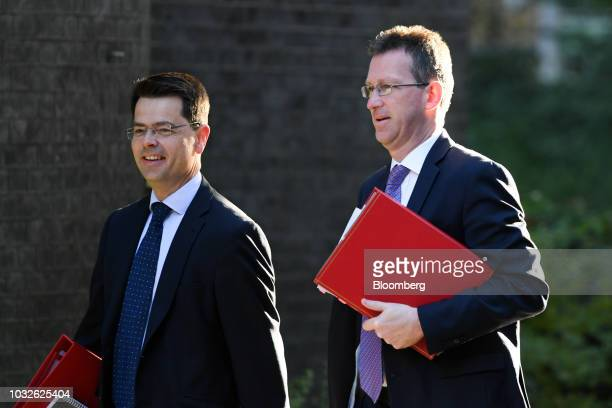 James Brokenshire UK communities secretary left Jeremy Wright UK culture secretary right arrive for a special Brexit 'No Deal' meeting of cabinet...