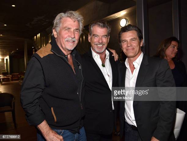 James Brolin Pierce Brosnan and Josh Brolin attend Barbra Streisand's 75th birthday at Cafe Habana on April 24 2017 in Malibu California