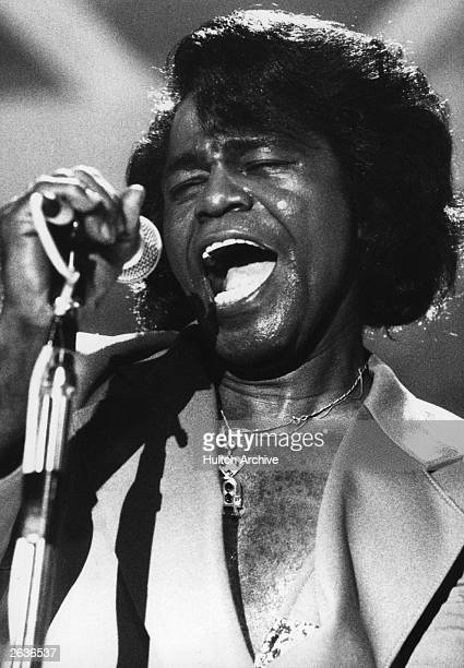 James Brown American funk soul singer songwriter and producer performing at the Montreux Jazz Festival