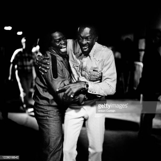 James Brown and Chuck Berry are photographed during preparations for the first concert for the Rock and Roll Hall of Fame Museum on September 2 1995...