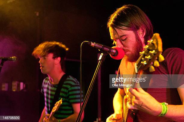 James Brown and Tom Hudson of Pulled Apart By Horses perform on stage at Jongleurs during the Dot To Dot Festival on June 3 2012 in Nottingham United...
