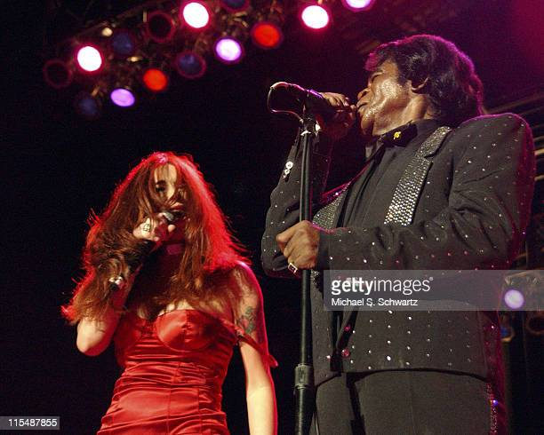 James Brown and wife Tomi Rae Hynie during James Brown and Michael McDonald in Concert August 27 2005 at Greek Theater in Los Angeles California...