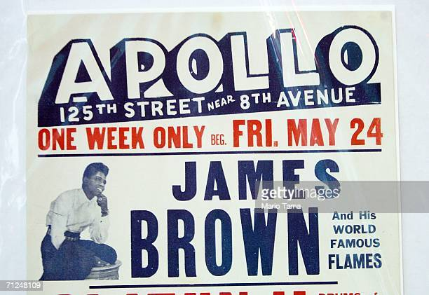 James Brown concert poster from the Apollo Theater is seen at an auction preview by It's Only Rock 'N Roll at the Jacob Javits Convention Center June...