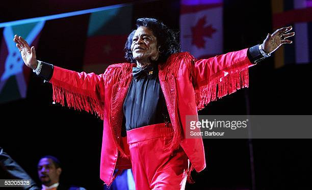 James Brown is seen dancing on stage at the Live 8 Edinburgh concert at Murrayfield Stadium on July 6 2005 in Edinburgh Scotland The free gig...
