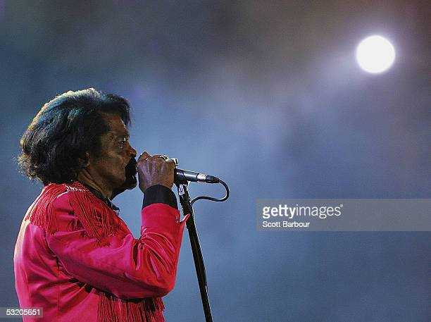James Brown is seen on stage at the Live 8 Edinburgh concert at Murrayfield Stadium on July 6 2005 in Edinburgh Scotland The free gig labelled...