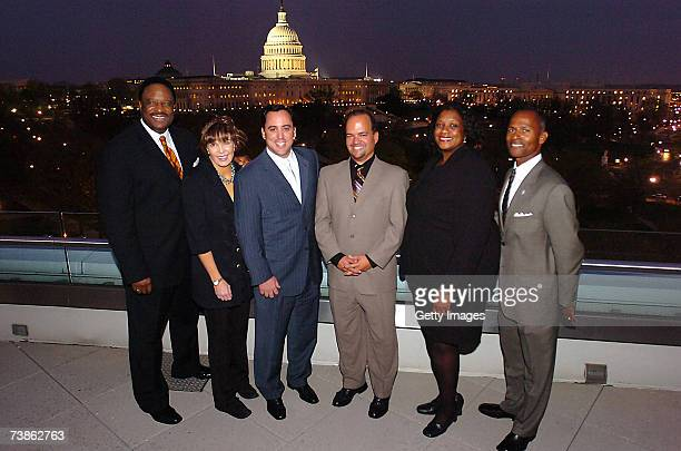 James Brown Lesley Visser Andy Feffer Fernando Murias Dawn Ridley and Steve Hocker pose during the VIP reception for the 2007 NFL Players Gala...