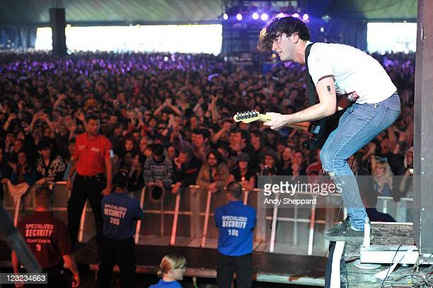 James Brown of Pulled Apart By Horses performs on stage during Day 1 of Reading Festival 2011 at Richfield Avenue on August 26 2011 in Reading United...