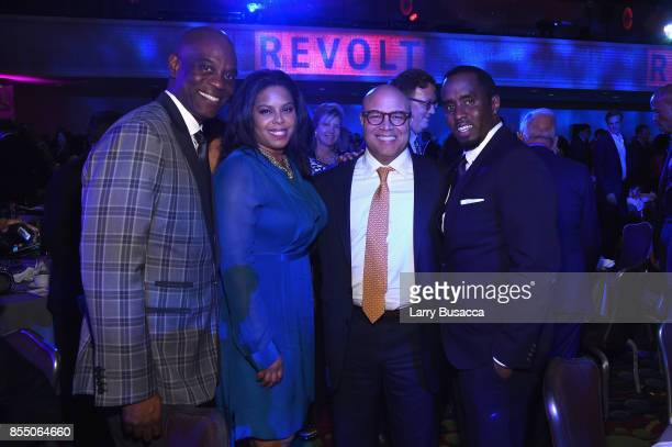 James Brown of Revolt Media Michael Powell President CEO at NCTA and P Diddy attend the 34th Annual Walter Kaitz Foundation Fundraising Dinner at...