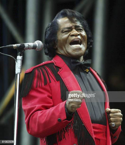 James Brown on the Pyramid Stage during the third and final day of the Glastonbury Festival 2004 at Worthy Farm Pilton on June 27 2004 in Somerset...
