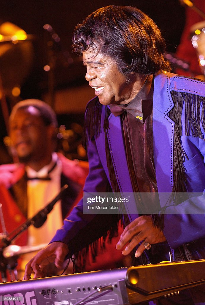 James Brown performs at the season opener at the Mountain Winery, on May 20, 2004 in Saratoga, California.