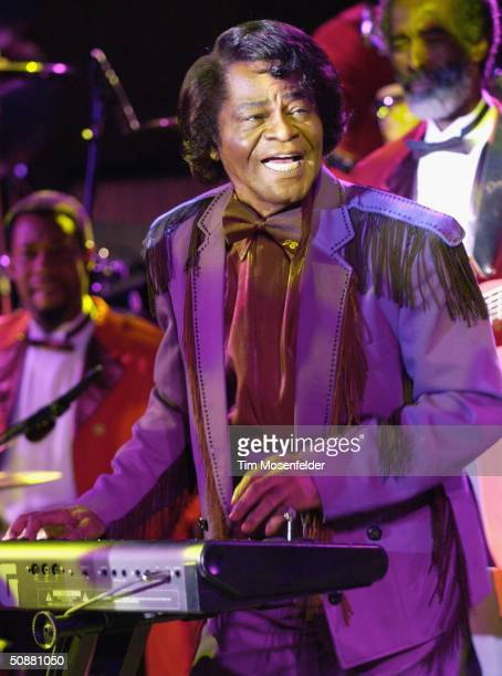 James Brown performs at the season opener at the Mountain Winery on May 20 2004 in Saratoga California