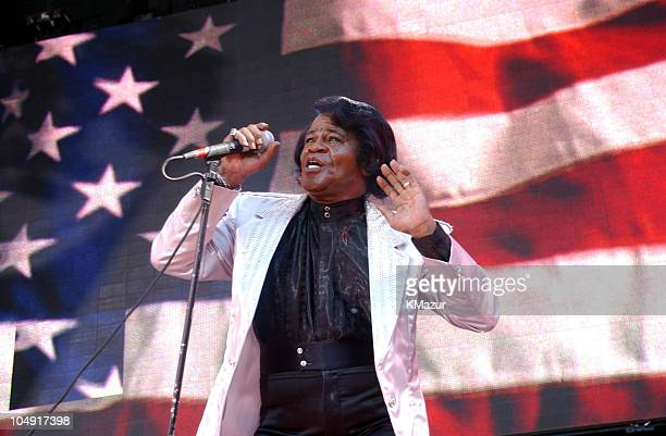 James Brown performs during United We Stand Concert Show at RFK Stadium in Washington DC United States