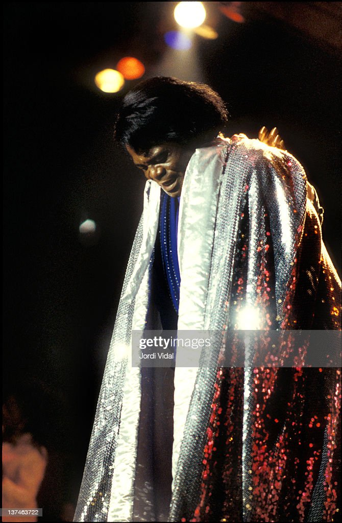 James Brown performs on stage at Poble Espanyol on July 10, 1995 in Barcelona, Spain.