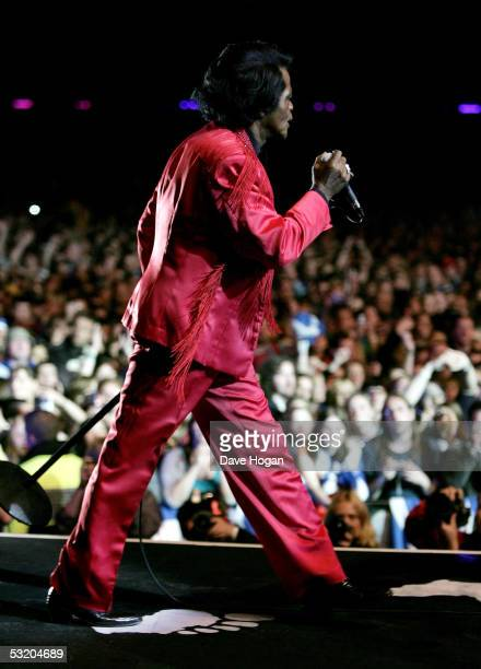 James Brown performs on stage at the Live 8 Edinburgh concert at Murrayfield Stadium on July 6 2005 in Edinburgh Scotland The free gig labelled...