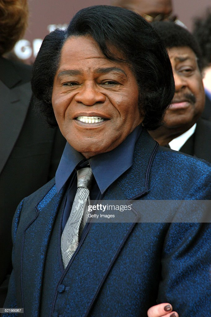James Brown stops at the TV Guide stage as they arrive to the 47th Annual Grammy Awards at the Staples Center February 13, 2005 in Los Angeles, California.