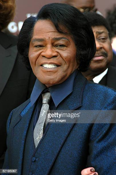 James Brown stops at the TV Guide stage as they arrive to the 47th Annual Grammy Awards at the Staples Center February 13 2005 in Los Angeles...